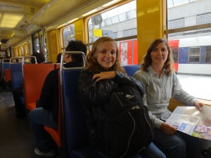 130416 23934 FR Paris, RER train from CDG airport, Eryn, Susan